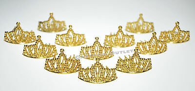 12 PRINCESS GOLD CROWNS MINI PLASTIC TIARA PRINCESS BIRTHDAY FAVORS RECUERDOS  - Crown Decorations