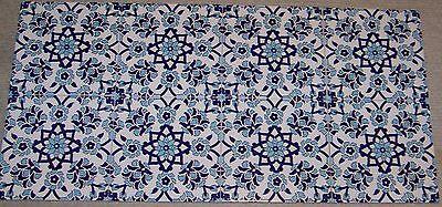 "Set of 8 8""x8"" Defective Turkish Blue & White Iznik Floral Pattern Ceramic Tile"