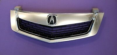 ACURA TSX 09 10 Front Grill Grille All Silver w Silver MOULDING TRIM w Emblem