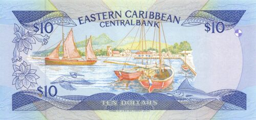 East Caribbean States $ 10  ND. 1985 P 23L1 Series L  Uncirculated Banknote XYZ4