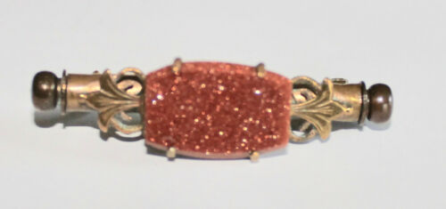 Antique Victorian Goldstone Nanny Pin with Hidden Sewing kit