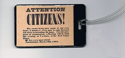 1864 Civil War flyer hand-out Luggage or Book Bag Tag Flyer Luggage Tag