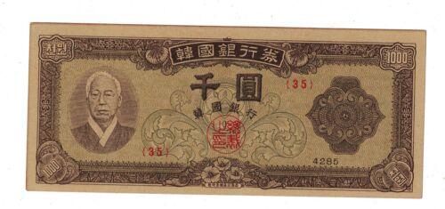 South Korea 1000 Won 4285/1952 UNC
