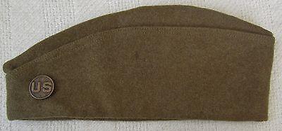 ORIGINAL WW1 Vintage British Made US ARMY OVERSEAS CAP / HAT with COLLAR DISK