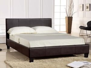 Brown faux leather queen size bed frame