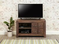 Dark Wood Solid Walnut TV Unit with Drawers new