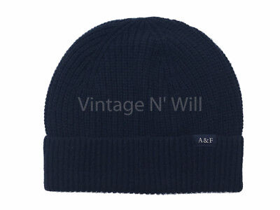 Abercrombie Fitch Navy Blue Merino Wool AF Logo Turn Up Beanie Skull Cap Hat Gym