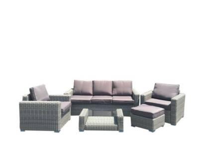 Amalfi 5 Piece Wicker Sofa Set - Grey & Slate