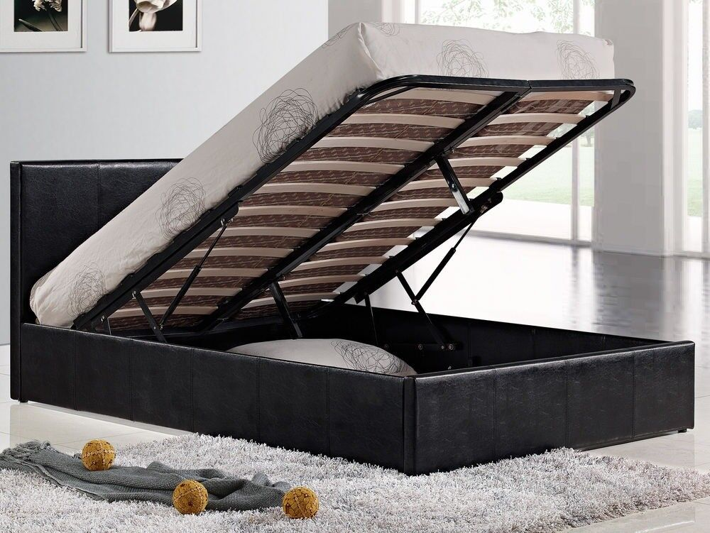 🔥70% OFF💥BRAND NEW OTTOMAN STORAGE GAS LIFT UP BED FRAME BLACK BROWN💥💥SINGLE, DOUBLE,KING SIZE💥