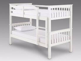 "BRAND NEW **WOODEN BUNK BED"" WHITE OR WALNUT 3FT Single bottom single top and split in to 2 singles"