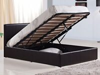 LEATHER OTTOMAN DOUBLE STORAGE BED WITH GAS LIFT + MATTRESS