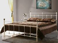 Cream Double Bed Frame - Excellent Condition