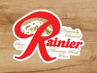 Pre-order July - Rainier Beer Logo Premium Vinyl Sticker Decal 3x2.5 Breweriana