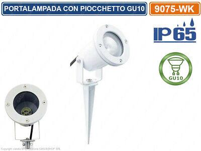 FARETTO PORTALAMPADA ORIENTABILE CON PICCHETTO DA GIARDINO LAMPADINE GU10 IP65