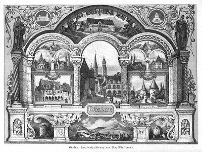 Goslar, Ansichten, Original-Holzstich von 1884