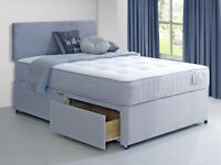 (HEADBOARD & STORAGE Optional) 4FT6 DOUBLE OR 5FT KING DIVAN BED BASE WITH DEEP QUILTED MATTRESS