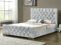 FULLY CRUSHED NEW CHESTERFIELD DOUBLE & KING SIZE BED FRAME w 1000 POCKET SPRUNG MATTRESS OFFER
