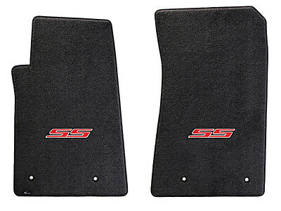 NEW! BLACK FLOOR MATS 2010-2015 Camaro Embroidered Logo SS in Red Front set of 2