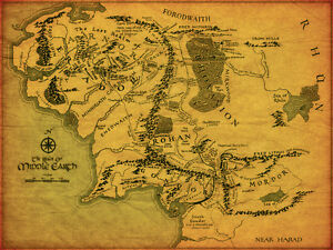 Lord Of The Rings Middle Earth Map Giant 1 Piece Glossy Poster Art Print!