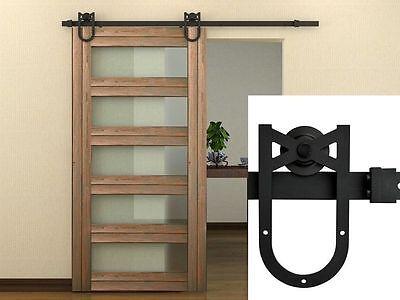 6.6 Feet Black Country Barn Wood Steel Sliding Door Hardware Set Track Kit