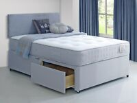✔️ Brand New High Quality Grey Plain Fabric Divan on Clearance Sale ✔️✔️