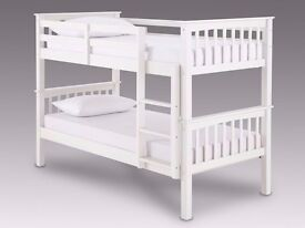 - SINGLE TOP / SINGLE BOTTOM - SOLID WOODEN BUNK BED FRAME + SUPER ORTHO MATTRESS - ( QUICK DROP ) -