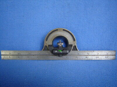 Brown Sharpe Combination Protractor Headlevel 12 Steel Rule Machinist Tool