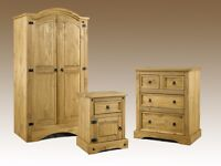 BARGAIN! Solid pine bedroom set. Wardrobe, Chest of Drawers, Bedside. Brand new, Free delivery