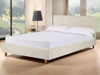 High quality modern cream 4ft6 double bed frame & luxury mattress, buttoned headboard. FREE DELIVERY