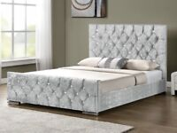 *⚫BLACK CHAMPAGNE OR SILVER COLORS⚫* DOUBLE SIZE BED CHESTERFIELD CRUSH VELVET BED BLACK OR SILVER