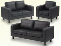 Great Value Leather Box Sofa Set 3 2 & 1 only for £299 black brown color