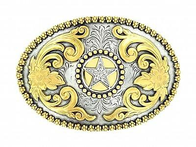 Nocona Western Belt Buckle Oval Texas Star Gold Silver 3756644
