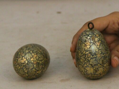 Old Wooden Painting Work Christmas Tree Ornament Balls Decorative Egg Collectibl
