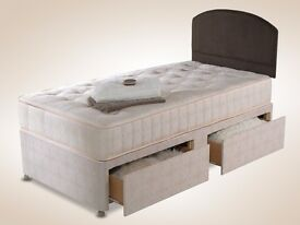 LIMITED TIME OFFER - SINGLE DIVAN BED BASE AND MATTRESS WITH FREE DELIVERY