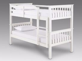 BRAND NEW WHITE OR PINE BUNK BED*SOLID*DURABLE*GOOD FOR KIDS BED