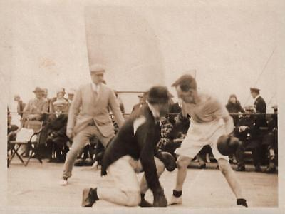BOXING MATCH ON RMS MAURETANIA Orig Antique Photograph 1926