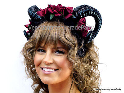 Buffalo Ram Horns Headband Masquerade Halloween Party Festival Costume Dress up