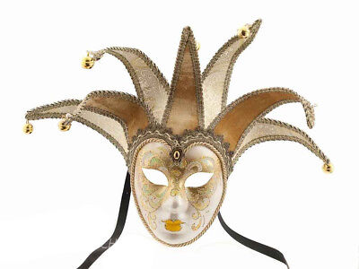 Mask from Venice Volto Jolly Yellow and Golden 7 Spikes for Masquerade Ball 908
