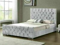 CHEAPEST PRICE --CHESTERFIELD CRUSHED VELVET DOUBLE BED FRAME SILVER, BLACK AND CREAM