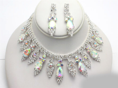 Aurora Borealis Teardrop Bridal Wedding Prom CRYSTAL AB Rhinestone Necklace Set