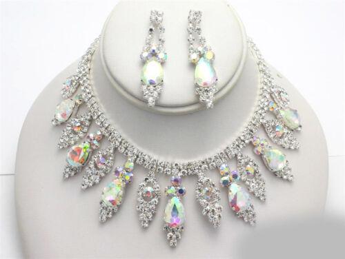 Aurora Borealis Teardrop Bridal Wedding Prom CRYSTAL AB Rhinestone Necklace Set