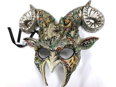 Aries Horn Masquerade Ball Ram Goat Mask Costume Halloween Performance Art Deco](Halloween Goat Horns)