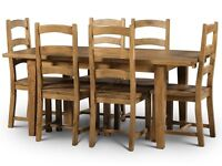 140cm Extending Dining Table and 6 Chairs Set