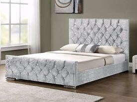 SMALL DOUBLE KINGSIZE =CHESTERFIELD CRUSHED VELVET BED FRAME IN BLACK SILVER AND CREAM