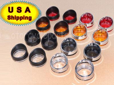 Motorcycle Turn Signal Bezels Lens Cover Visor Trim Rings For Harley Davidson US