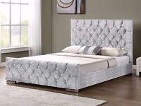 MODREN DESIGN /// DOUBLE CHESTERFIELD CRUSHED VELVET BED FRAME SILVER, BLACK AND CREAM COLORS