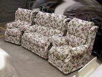 Leaf pattern cream fabric two seater and two chairs sofa suite. Condition NEW