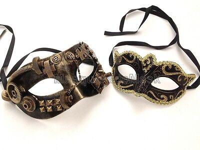 Couple Masquerade Mask Costume Dress up Prom New Year Party Steampunk eye Mask - Couple Dress Up