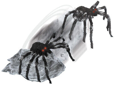 HALLOWEEN ANIMATED JUMPING BLACK SPIDER LIGHTED EYES PROP