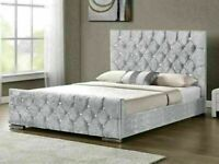 🔵💖🔴GREAT QUALITY🔵💖🔴FULLY CRUSHED VELVET CHESTERFIELD DOUBLE-KING SIZE BED & MATTRESSES